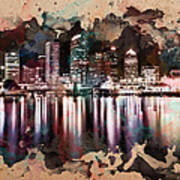 Night City Reflections Watercolor Painting Poster