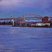 Night Descends Over The Triboro Bridge - Nyc Poster