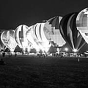 Night Glow Hot Air Balloons Bw Poster