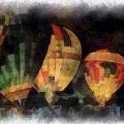 Night Glowing Hot Air Balloons Photo Art Poster