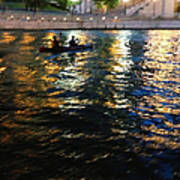 Night Kayak Ride Poster by Margie Hurwich
