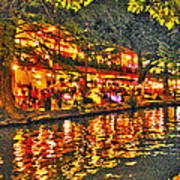 Night Life By The River Walk Poster