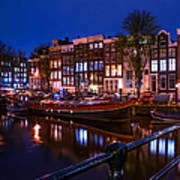 Night Lights On The Amsterdam Canals. Holland Poster by Jenny Rainbow