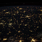 Night Time Satellite Image Of Cities Poster