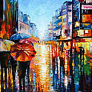 Night Umbrellas - Palette Knife Oil Painting On Canvas By Leonid Afremov Poster
