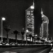 Night View Of Emirates Towers In Dubai Poster