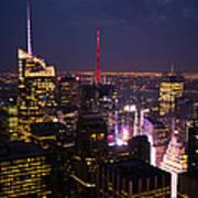Night View Of New York Poster
