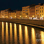 Night View Of River Arno Bank In Pisa Poster