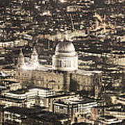 Night View Over St Pauls Poster