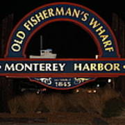 Nightfall At The Old Fishermans Wharf At The Monterey Harbor California 5d25175 Poster