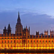 Nightly View London Houses Of Parliament Poster