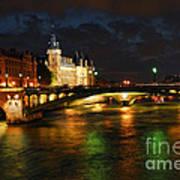 Nighttime Paris Poster