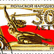 Nike Holding A Sword With The Polish Flag Behind Poster