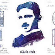 Nikola Tesla Patent Art Electric Arc Lamp Poster