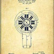Nikola Tesla Patent Drawing From 1889 - Vintage Poster