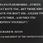 Nixon Quote In Negative Poster