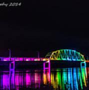 Norbert F. Beckey Bridge In Rainbow Lighting Poster