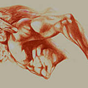 North American Minotaur Red Sketch Poster