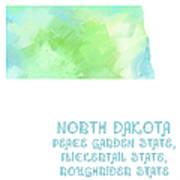 North Dakota - Peace Garden State - Flickertail State -  Roughrider - Map - State Phrase - Geology Poster