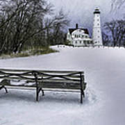 North Point Lighthouse And Bench Poster