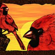 Northern Cardinals At Sunrise Poster