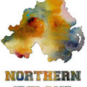 Northern Ireland Watercolor  Map Poster