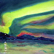 Northern Lights On Superior Shores Poster