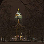 Notre Dame Golden Dome Snow Poster