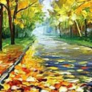 November Alley - Palette Knife Landscape Autumn Alley Oil Painting On Canvas By Leonid Afremov - Siz Poster
