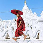 Novice Monk Jumping On White Pagoda - Mandalay - Burma Poster