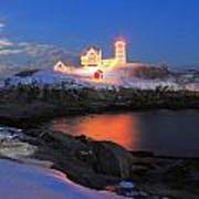 Nubble Lighthouse Holiday Lights And Winter Moon Poster by John Burk