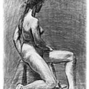 Nude Female Figure Drawing Poster