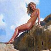Nude On The Rocks Poster