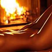 Nude Shiny Woman Body In Front Of Fireplace Poster