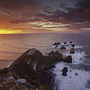 Nugget Point Lighthouse At Sunrise Poster