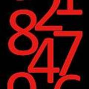 Numbers In Red And Black Poster