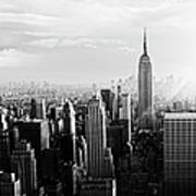 Nyc Skyline.black And White Poster