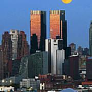 Nyskyline Moonrise At Sundown Poster