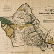 Oahu Sovereign Hawaii Map  1881 Poster