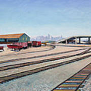 Oakland Train Tracks And San Francisco Skyline Poster