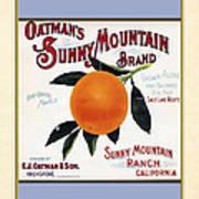 Oatmans Sunny Mountain Brand Oranges Vertical Poster