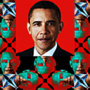 Obama Abstract Window 20130202verticalp0 Poster by Wingsdomain Art and Photography