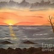 Ocean At Sunset Poster