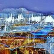 Ocean City Maryland At Night - Blue Poster