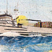 Ocean Olympic King Crab Fishing Boat Nautical Chart Map Art Poster