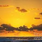 Ocean Sunrise Clouds Poster