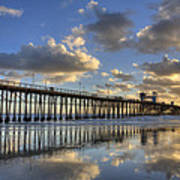 Oceanside Pier Sunset Reflection Poster
