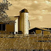 Ohio Farm In Sepia Poster by Frozen in Time Fine Art Photography