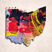 Ohio Map Art - Painted Map Of Ohio Poster