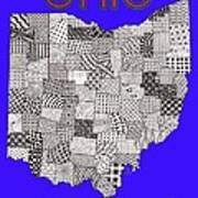 Ohio Map Blue Poster